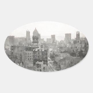 San Francisco Earth Quake Destruction 1906 Oval Sticker