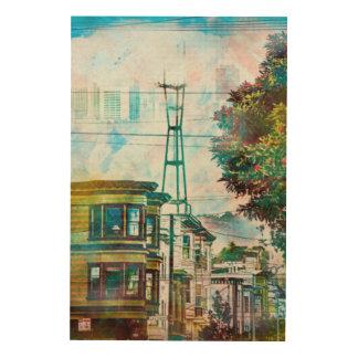 San Francisco: El World.tif del diecinueveavo Impresión En Madera