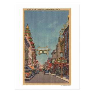 San Francisco, escena de CAStreet de Chinatown Tarjeta Postal