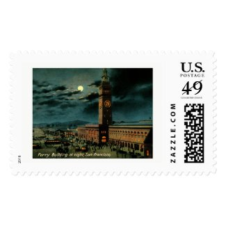 San Francisco, Ferry Building at Night, Vintage Postage