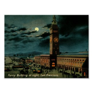 San Francisco, Ferry Building at Night, Vintage Poster