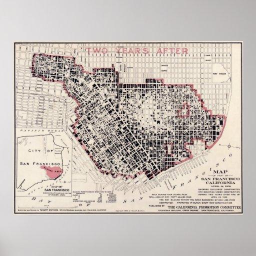 San Francisco fire map 1908 Punnet Bros BigMap Poster Zazzlecom