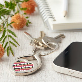 San Francisco Football Red and Gold Color Silver-Colored Heart-Shaped Metal Keychain