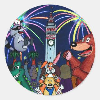 San Francisco Furry New Year Celebration Classic Round Sticker