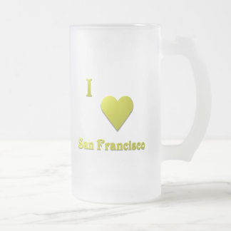 San Francisco -- Gold Frosted Glass Beer Mug