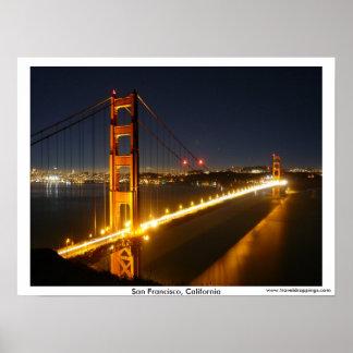 San Francisco Golden Gate Bridge at Night Poster