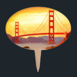 "San Francisco Golden Gate Bridge Cake Topper<br><div class=""desc"">San Francisco Golden Gate Bridge at sunrise. View of the historic Golden Gate bridge. Digitally painted with yellow orange and red.</div>"