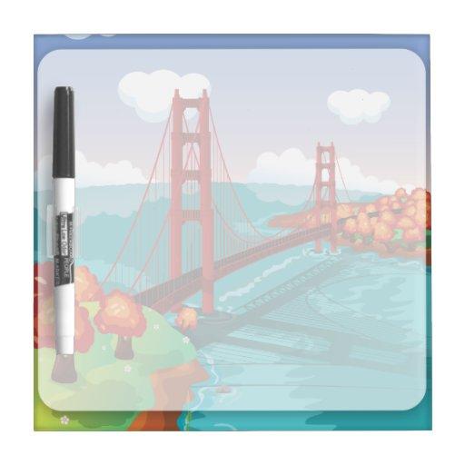 San Francisco Golden Gate Bridge Dry Erase Boards