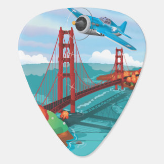 San Francisco Golden Gate Bridge fly past Guitar Pick