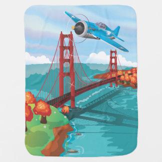 San Francisco Golden Gate Bridge fly past Stroller Blanket