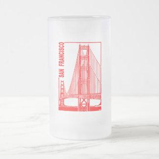 San Francisco-Golden Gate Bridge Frosted Glass Beer Mug