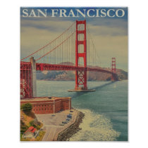 San Francisco Golden Gate Bridge Retro Vintage