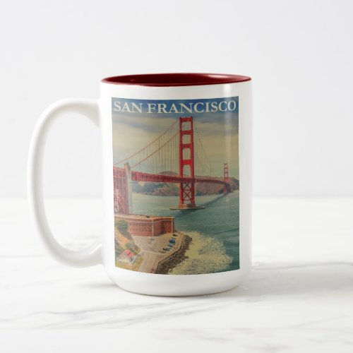 San Francisco Golden Gate Bridge Retro Vintage
