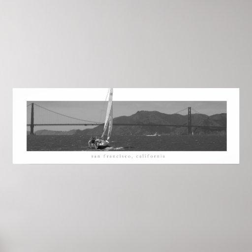 San Francisco - Golden Gate Bridge with Sailboat Poster