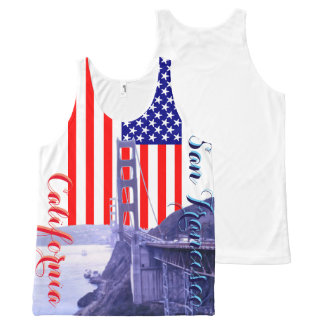 San Francisco Golden Gate USA Flag Stars & Stripes All-Over Print Tank Top