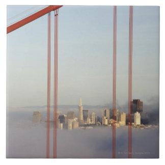 San Francisco in fog through Golden Gate Bridge Large Square Tile