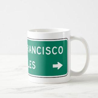 San Francisco Los Angeles Highway Sign Coffee Mugs