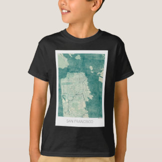San Francisco Map Blue vintage watercolor T-Shirt