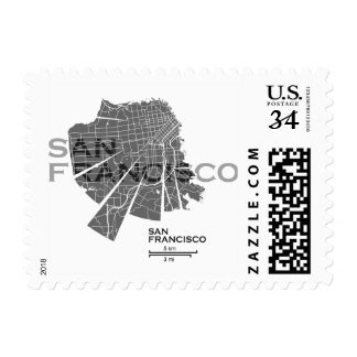 San Francisco Map Post Stamp