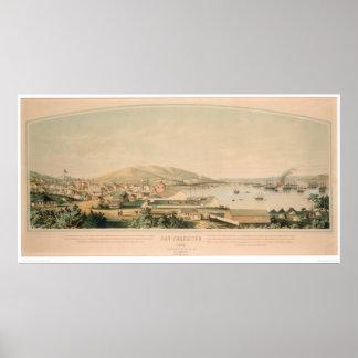 San Francisco, mapa panorámico 1849 (1626A) del CA Póster