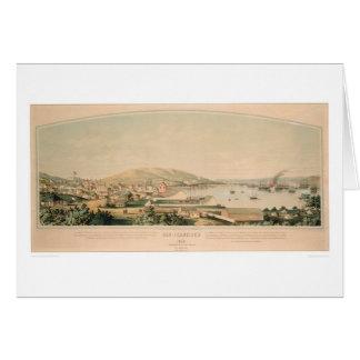 San Francisco, mapa panorámico 1849 (1626A) del CA Tarjeta De Felicitación