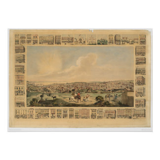 San Francisco, mapa panorámico 1860 (1162A) del CA Póster
