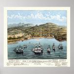 San Francisco, mapa panorámico de CA - 1847 Impresiones