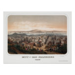 San Francisco, mapa panorámico de CA - 1860 Póster