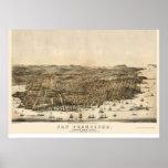 San Francisco, mapa panorámico de CA - 1864 Posters
