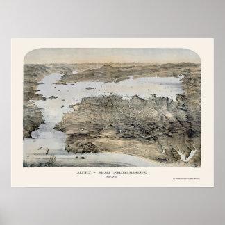 San Francisco mapa panorámico de CA - 1868 Impresiones