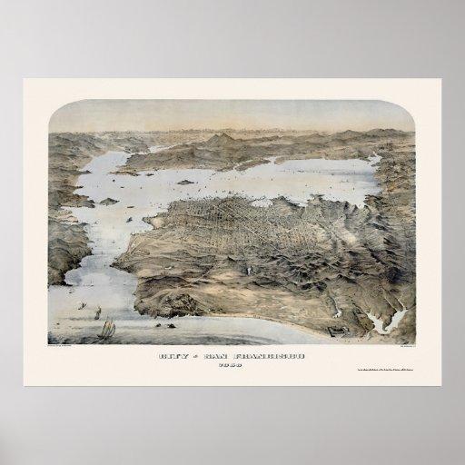 San Francisco, mapa panorámico de CA - 1868 Impresiones