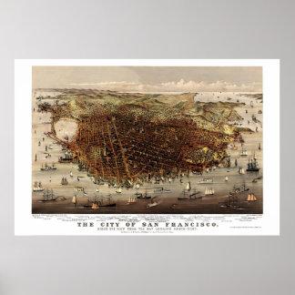 San Francisco mapa panorámico de CA - 1878 Poster