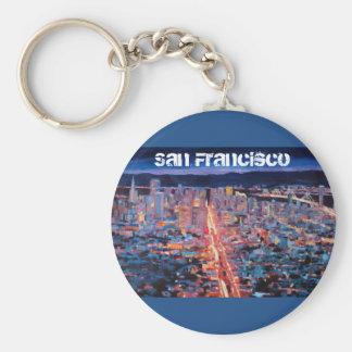 San Francisco - Market Street Night from Twin Peak Keychain