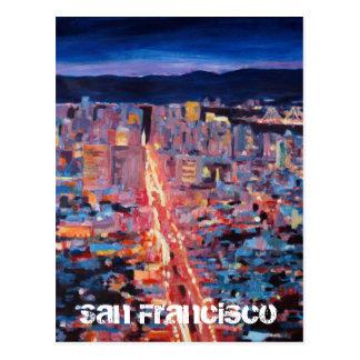 San Francisco - Market Street Night from Twin Peak Postcard