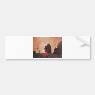 San Francisco mit Cable Car in sunset Car Bumper Sticker