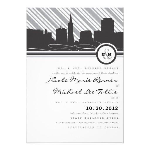 San Francisco Monogram Wedding Invitation