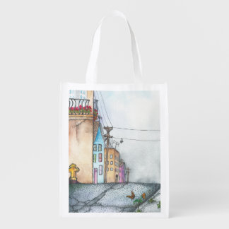 San Francisco Neighborhood Watercolor Reusable Grocery Bag