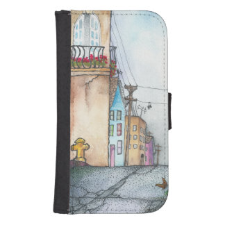 San Francisco Neighborhood Watercolor Wallet Phone Case For Samsung Galaxy S4