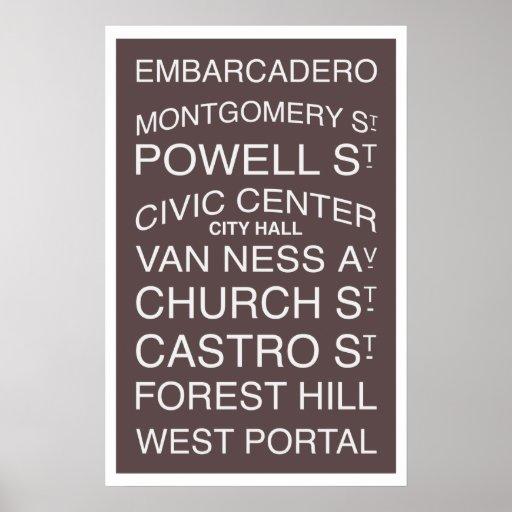 San Francisco Neighborhoods & Streets Poster