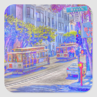 San Francisco neon Square Sticker
