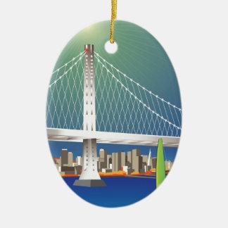 San Francisco New Oakland Bay Bridge Cityscape Ceramic Ornament