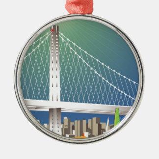 San Francisco New Oakland Bay Bridge Cityscape Metal Ornament