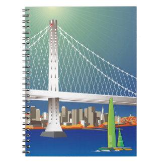 San Francisco New Oakland Bay Bridge Cityscape Spiral Notebook