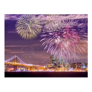 San Francisco New Year Fireworks Postcard