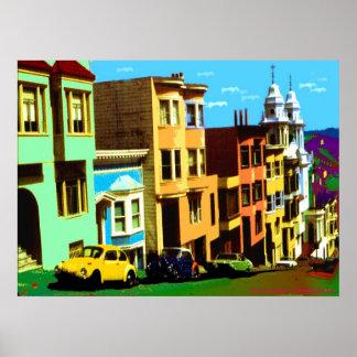 San Francisco Nob Hill - impresión del arte pop Póster