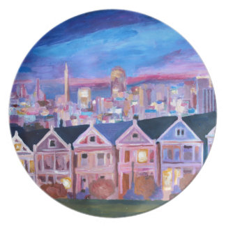 San Francisco  Painted ladies Party Plates