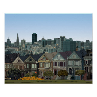 San Francisco Painted Ladies Poster