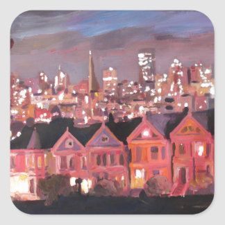 San Francisco - Painted Ladies Square Sticker