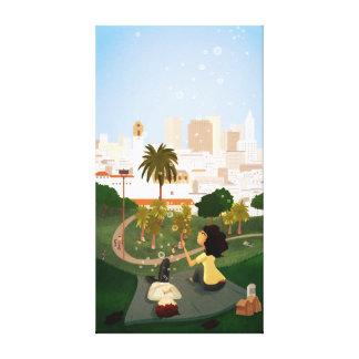 """San Francisco Park Art """"Simple Pleasures"""" Large Gallery Wrap Canvas"""