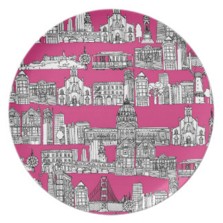 San Francisco / pink Dinner Plate